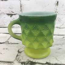 Vintage Anchor Hocking Fire King Oven Proof Mug Cup Green Ombré Textured - $14.84