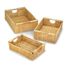 Wicker Basket, Rectangle Decorative Baskets, Made Of Straw (set Of 3) - $46.33