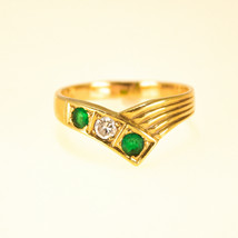 18k Yellow Gold Ring with Emeralds and Diamond UK Size Q - $587.96