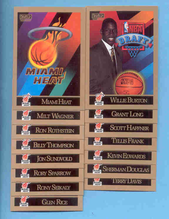 1990/91 Skybox Miami Heat Basketball Team Set