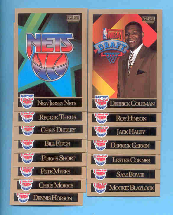 1990/91 Skybox New Jersey Nets Basketball Team Set