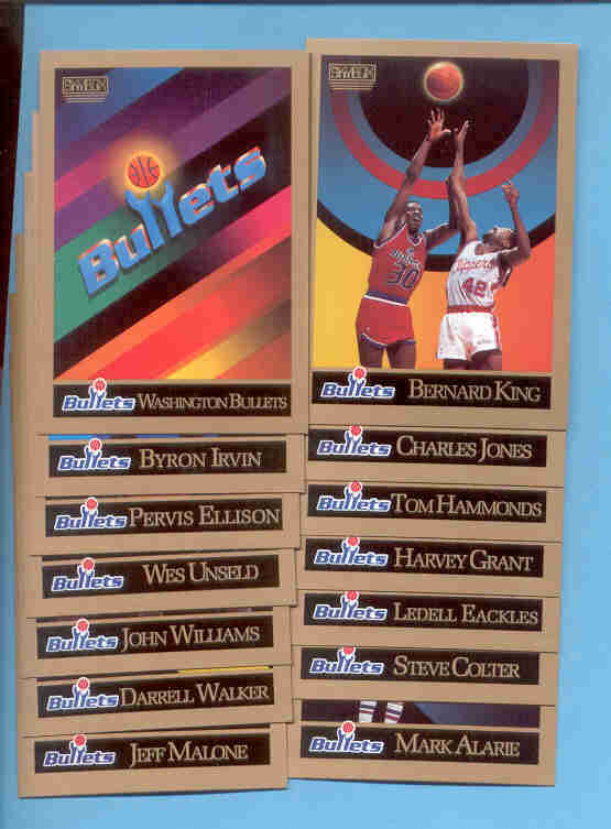1990/91 Skybox Washington Bullets Basketball Team Set