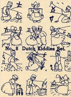 Depression Era Embroidery Iron-on Transfers Dutch Children Quilt Holland 1930