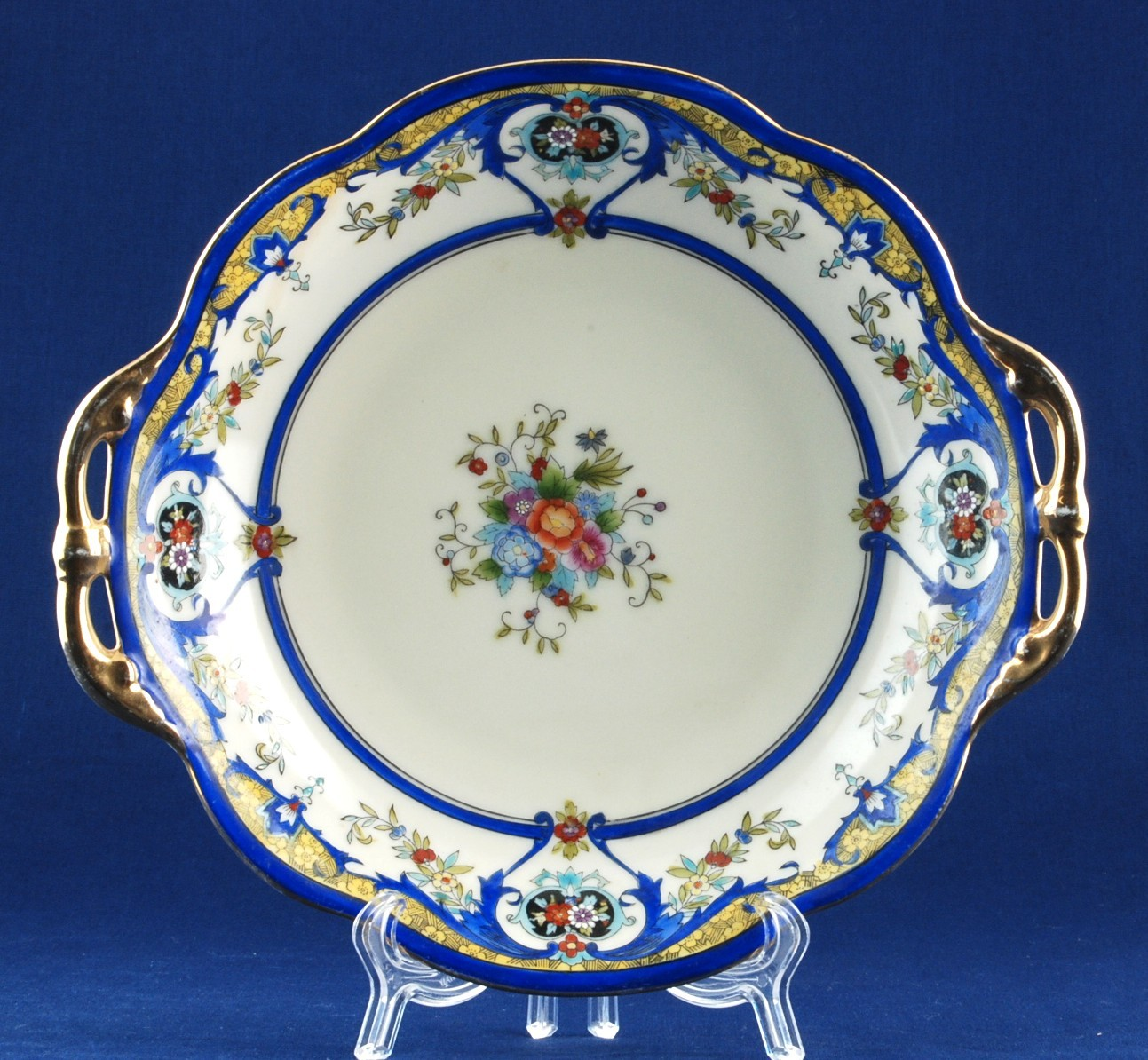 "Noritake 2-Handled 9"" Serving Bowl M in Wreath Mark Floral Dark Blue & Gold Trim"