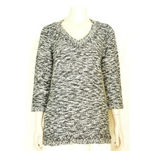 Alberto Makali top tunic  sweater SZ M black white silver Zig Zag ribbon... - $19.79
