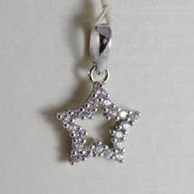 18K White Gold Mini Star Pendant, Length 0.63 Inches, Zirconia, Made In Italy - $109.25