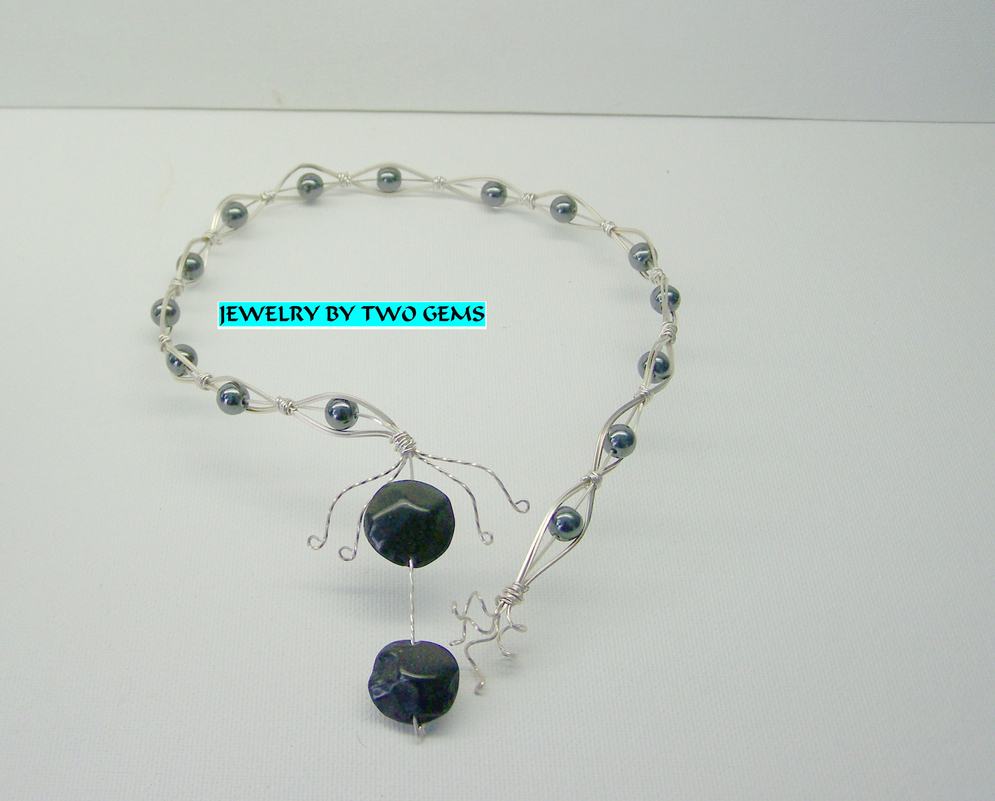 Jewelry By Two Gems (Wn13) Sterling Silver Wire Wrap Torque Braided w Hematite