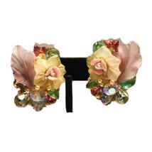 Vintage Katrina Clip On Earrings AB Aurora Borealis Porcelain Acrylic J9005 - $33.24