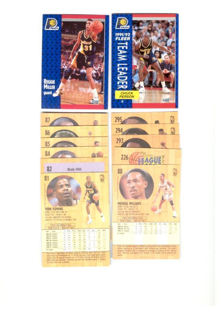 1991/92 Fleer Indiana Pacers Basketball Set