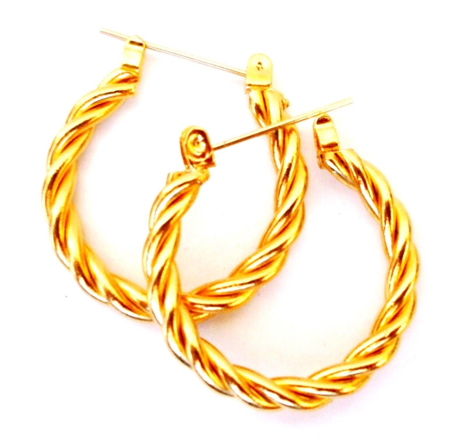 E147  VINTAGE LOOK 14K GOLD POST ROUND BRAIDED ONE INCH HOOP EARRINGS - $12.00