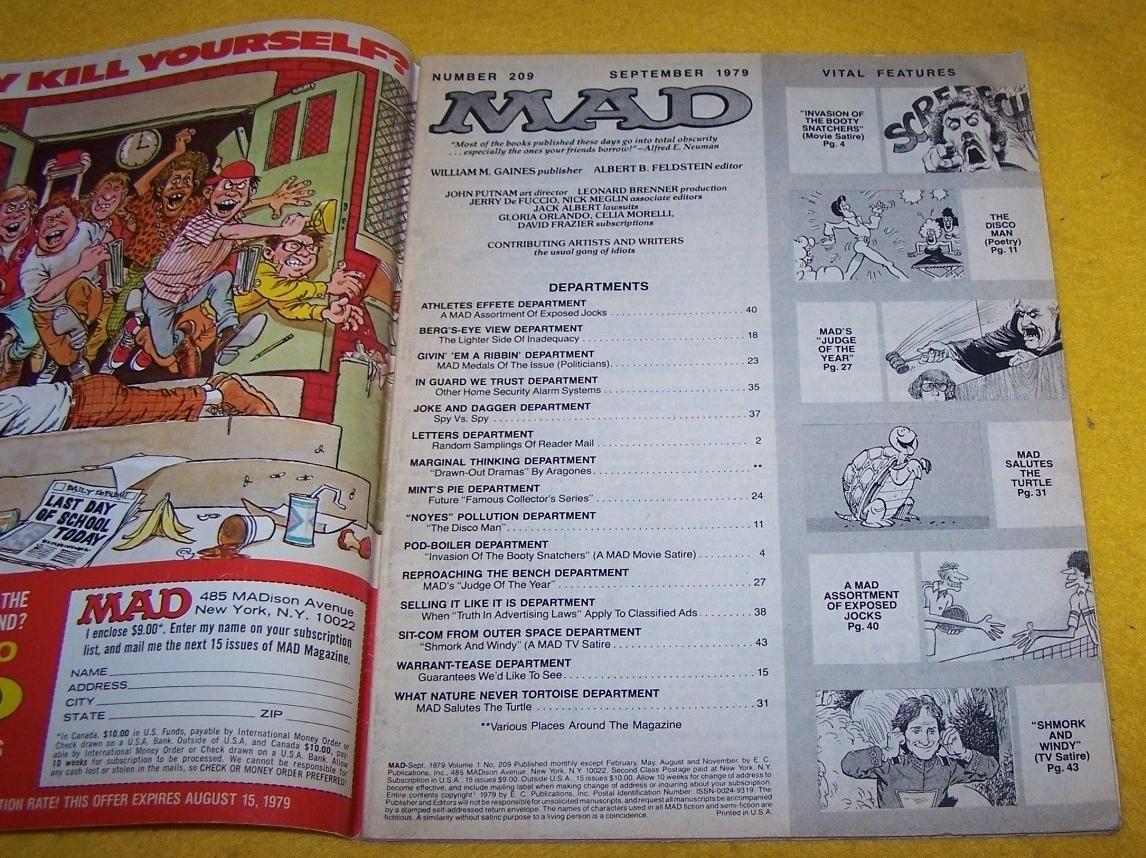 Vintage Mad Magazine September 1979  No 209