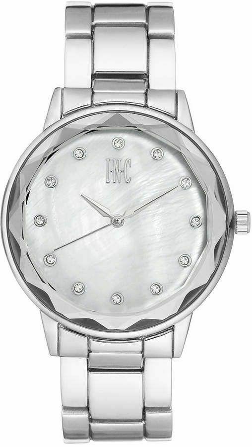 I. N.c. Femmes Argent Ton 36mm Nacre Cadran Coupe Cristal Bracelet Montre