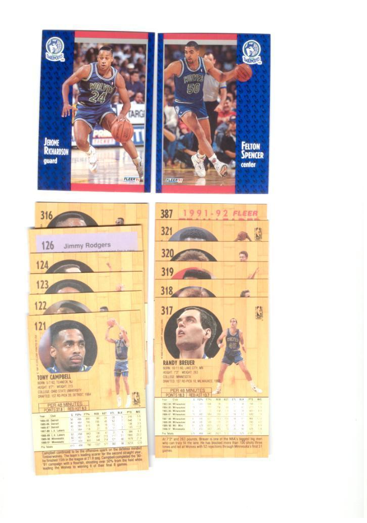 1991/92 Fleer Minnesota Timberwolves Basketball Team Set