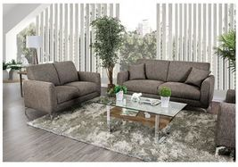 Lasi 3 Piece Contemporary Style Sofa Set in Brown Linen-Like Fabric with... - $1,496.00
