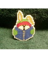 Christmas Caroler Noel Bunny Cross Stitch Holiday Pin - $5.00