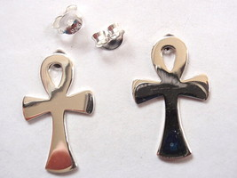 Ankh Stud Earrings 925 Sterling Silver Corona Sun Jewelry Breath of Life - $11.87