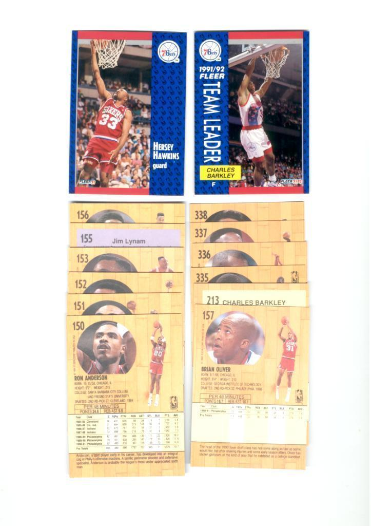 1991/92 Fleer Philadelphia 76ers Basketball Team Set