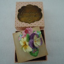 Vintage Coalport China Pin Brooch Pansy Rose with Original Box - $14.00