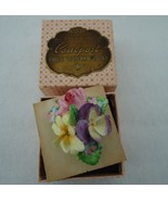 Vintage Coalport China Pin Brooch Pansy Rose with Original Box - $14.00