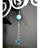 BELLY NAVEL RING AQUA CRYSTAL HEART DANGLE #533C - $7.99