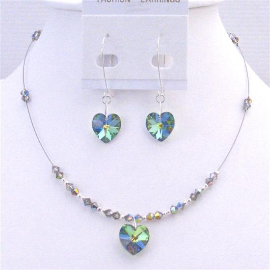 Heart Jewelry Vitral Medium Swarovski Crystals Pendant Earrings Set