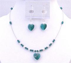 Swarovski Emerald Crystals Heart Pendant Jewelery Hoop Valentine Gift - $32.88
