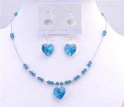 Swarovski Blue Zircon Heart Pendant Valentine Inexpensive Gift Jewelry - $32.88