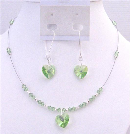 Valentine Jewelry Swarovski Peridot Crystals Heart Pendant Earrings