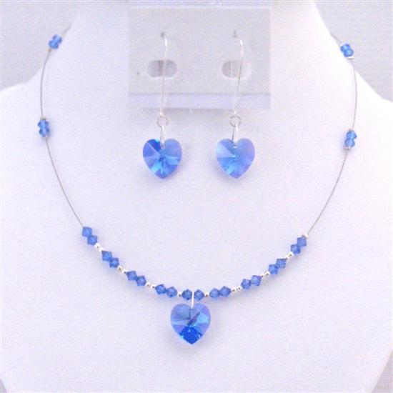 Prom Valentine Sapphire Crystals Heart Pendant Earrings Jewelry Set