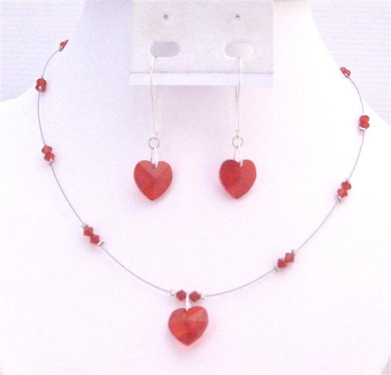 Valentine Romantic Siam Red Jewelry Heart Pendant Earrings Necklace
