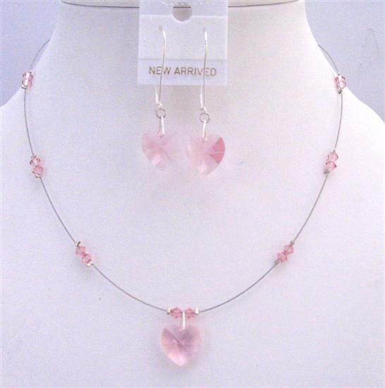 Dainty Lite Rose Crystals Heart Pendant Earrings Valentine Jewelry Set