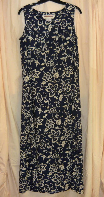 Primary image for Long vintage Navy Dress with white-sz.10