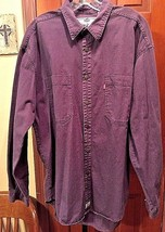 Purple Levi Long Sleeve Retro Mens Red Tab Authentic Jeans Wear Shirt EUC SIZE L - $19.79