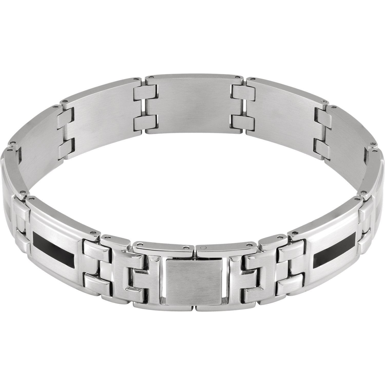 Men's Stainless Steel & Black Enamel Bracelet image 2