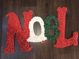 "Vintage Christmas 19"" Wide Melted Popcorn ""NOEL"" Wall Decoration #2 - $9.89"