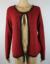 Faded Glory Womens Cardigan Sweater Size M Red Black Striped Shrug New C... - $17.41