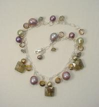 Gem Cluster Sterling Silver Bracelet with Labradorite, Vintage Crystal, ... - $75.00
