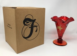Fenton Art Glass Ruby Red Hand Painted Vase- New With Box! #5885 3X - $99.50