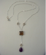 Necklace w Amethyst, Smoky Quartz, Vintage Crystal Beads on Sterling Sil... - $65.00
