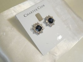 "Charter Club 3/4"" Silver-Tone Crystal Flower Stud Earrings R697 $24 - $13.43"