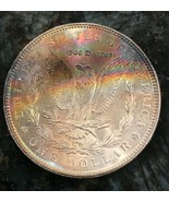 1898-P Rainbow Toned Morgan Silver Dollar  Awesome Toning  A57 - $163.35
