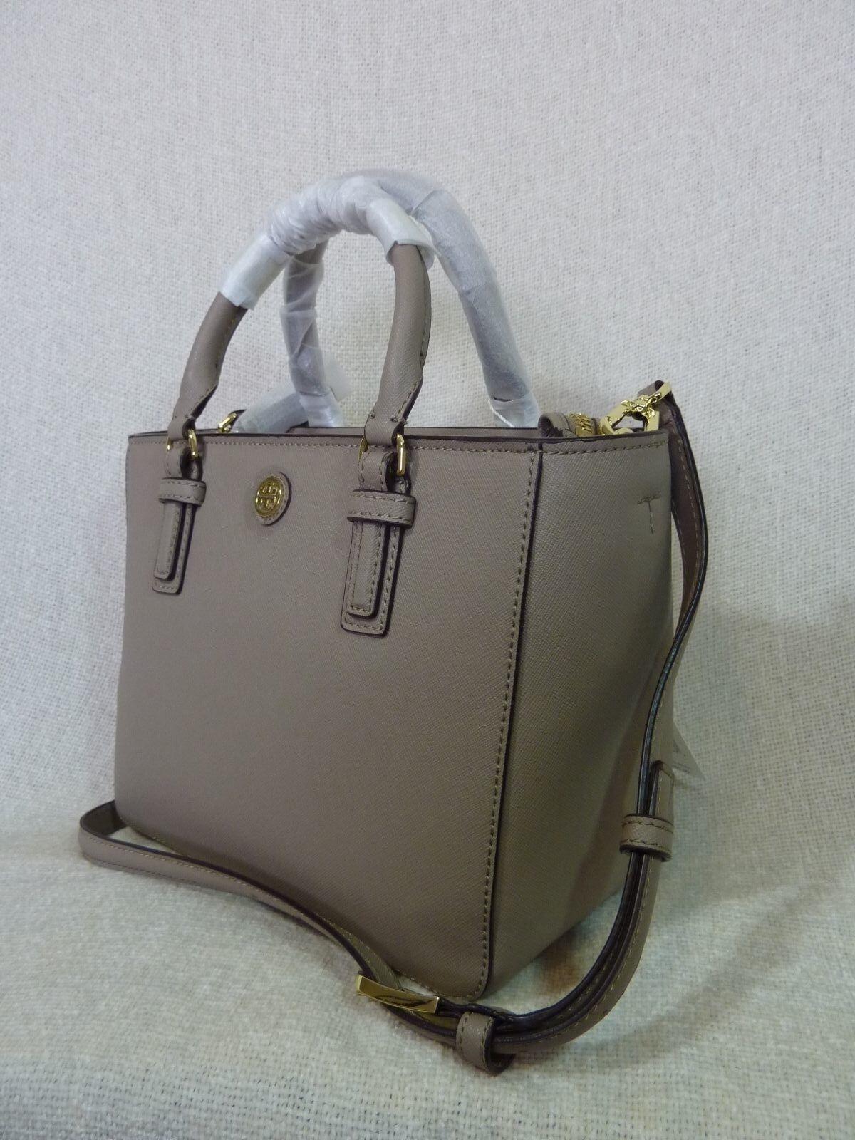 NWT Tory Burch French Gray Saffiano Leather Robinson Mini Square Tote image 2