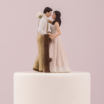 Rustic Couple Porcelain Figurine Wedding Cake Topper Blush Dress Customi... - $45.99