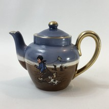 Royal Bayreuth Small Teapot Boy Flying A Kite With His Dog Scenic - $81.66