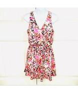 Lush Womens Lulu's Pink Print Surplice V-neck Sleeveless Mini Dress Size... - $22.76