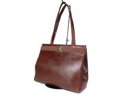 Auth Salvatore Ferragamo VARA Lizard Embossed Leather Brown Shoulder Bag - $189.00