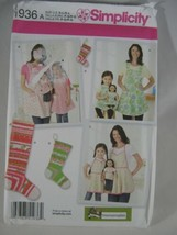 Simplicity 1936 Child Misses Doll APRON Full Cover Bib Pattern Stocking ... - $5.44