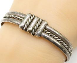 MEXICO 925 Silver - Vintage Rope Twist Wrap Detail Cuff Bracelet - B5329 - $79.62