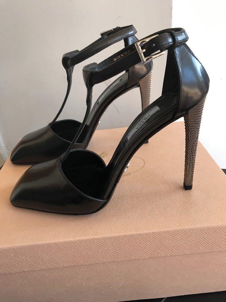 New AUTH Prada T- Strap Black / Silver Heel EU SZ 40 US 9.5 $795