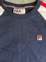 NWOT New Men Fila Navy Blue Athletic Long Sleeve Shirt Sz M Medium Cotton image 2